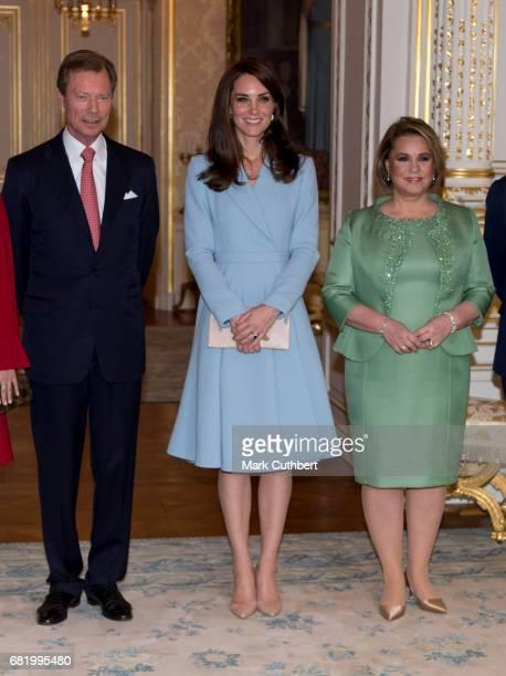 Catherine Duchess of Cambridge with Henri Grand Duke of Luxembourg and Maria Teresa Grand Duchess of Luxembourg at the Grand Ducal Palace during a...