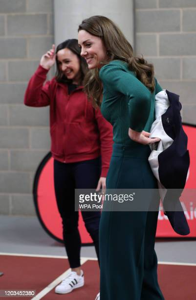 Catherine, Duchess of Cambridge with heptathlete Jessica Ennis-Hill during a SportsAid Stars event at the London Stadium in Stratford on February 26,...