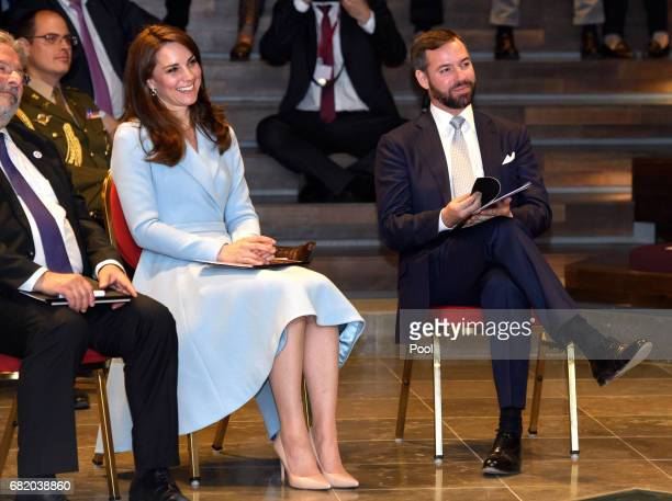 Catherine Duchess of Cambridge with Hereditary Grand Duke Guillaume of Luxembourg during a visit to the Drai Eechelen Museum on May 11 2017 in...