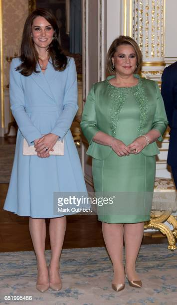 Catherine Duchess of Cambridge with Maria Teresa Grand Duchess of Luxembourg at the Grand Ducal Palace during a one day visit to Luxembourg on May 11...