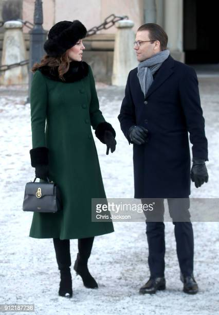 Catherine Duchess of Cambridge with Prince Daniel of Sweden walk through the cobbled streets of Stockholm from the Royal Palace to the Nobel Museum...