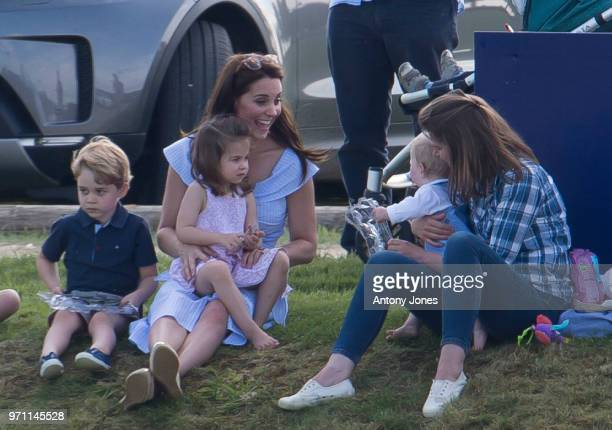 Catherine Duchess of Cambridge with Prince George of Cambridge and Princess Charlotte of Cambridge during the Maserati Royal Charity Polo Trophy at...