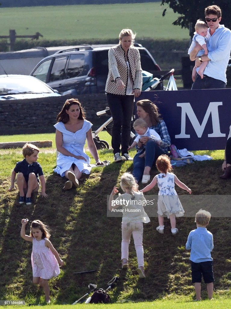Catherine, Duchess of Cambridge with Prince George of Cambridge, Princess Charlotte of Cambridge and friends during the Maserati Royal Charity Polo on June 10, 2018 in Gloucester, England.