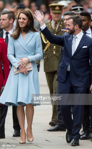 Catherine Duchess of Cambridge with Prince Guillaume Hereditary Grand Duke of Luxembourg walk to the City Museum during a one day visit to Luxembourg...