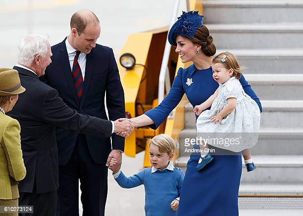 Catherine, Duchess of Cambridge with Princess Charlotte of Cambridge greets David Johnston, Governor General of Canada upon arriving at 443 Maritime...
