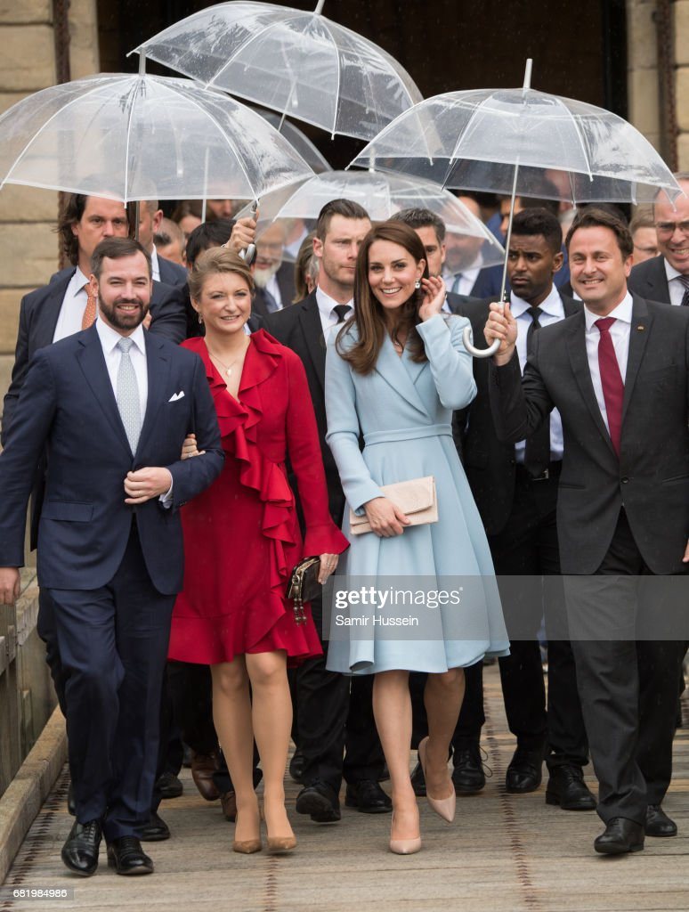 Catherine, Duchess of Cambridge with Princess Stephanie of Luxembourg and Prince Guillaume of Luxembourg (L) visit the Drai Eechelen Museum during a one day visit on May 11, 2017 in Luxembourg. The Duchess will attend a series of engagements to celebrate the cultural and historic ties between the UK and Luxembourg and the official commemoration of the 1867 Treaty of London, which confirmed Luxembourg's independence and neutrality.