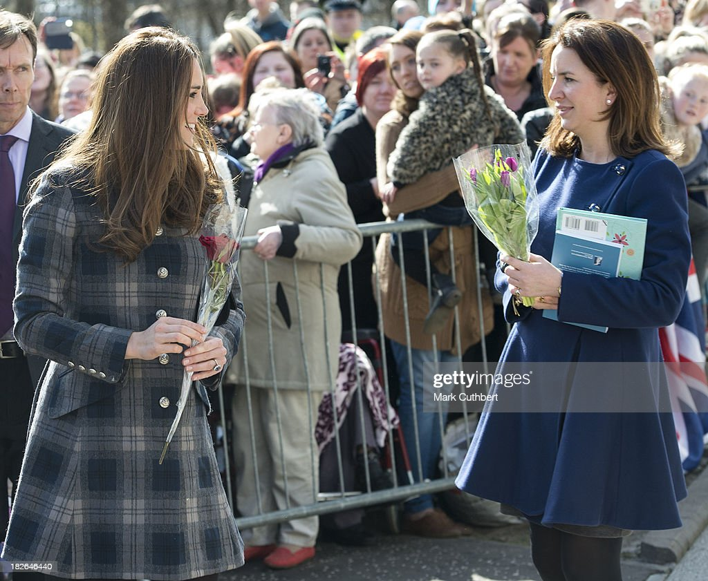 Catherine, Duchess of Cambridge with Rebecca Deacon, (private secretary to Catherine, Duchess of Cambridge) during a visit by Prince William and Catherine, Duchess of Cambridge to Glasgow on April 4, 2013 in United Kingdom.