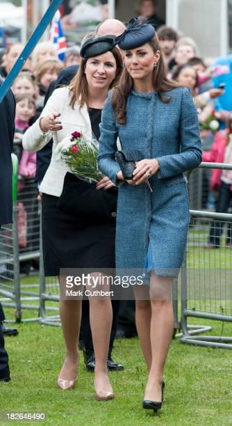 Catherine, Duchess of Cambridge with Rebecca Deacon, during a visit by Queen Elizabeth, Prince William and Catherine, Duchess of Cambridge to...