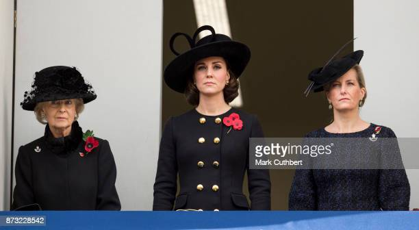 Catherine Duchess of Cambridge with Sophie Countess of Wessex and Princess Alexandra during the annual Remembrance Sunday memorial on November 12...