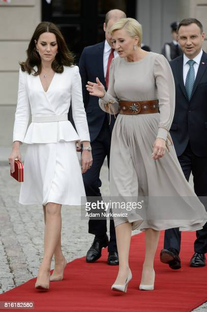 Catherine Duchess of Cambridge with the first Lady Agata KornhauserDuda and The Duke of Cambridge Prince William with President of Poland Andrzej...