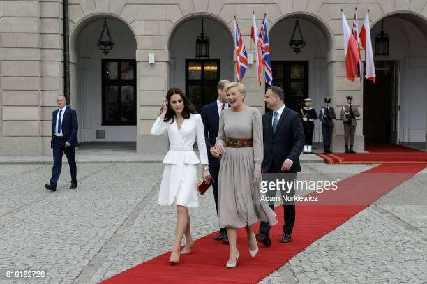 Catherine, Duchess of Cambridge with the first Lady Agata Kornhauser-Duda walk on the red carpet during an official visit by the Duke And Duchess Of...
