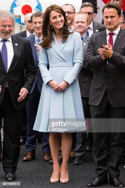 Catherine Duchess of Cambridge with Xavier Bettel Prime Minister of Luxembourg tours a cycling themed festival and unveils a mural of British cyclist...