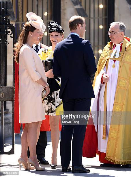 Catherine Duchess of Cambridge Zara Phillips and Prince William Duke of Cambridge attend a service marking the 60th anniversary of the Queen's...