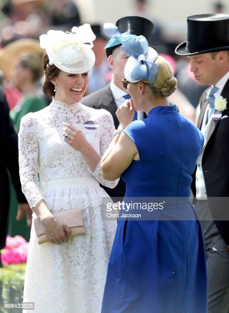 Catherine Duchess of Cambridge Zara Philllips and Prince William Duke of Cambridge attend Royal Ascot 2017 at Ascot Racecourse on June 20 2017 in...