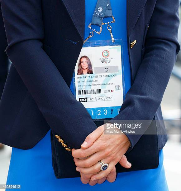 Catherine Duchess of Cambridge's Commonwealth Games Accreditation seen as she arrives at Hampden Park to watch the athletics during the 20th...