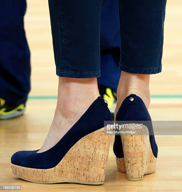 Catherine Duchess of Cambridge's skinny jeans and wedge shoes seen as she attends a SportsAid Athlete Workshop in the Copper Box Arena at the Queen...