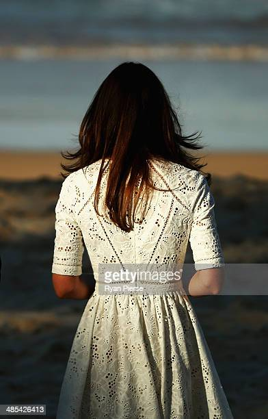 Catherine Duchess of Cambridgewatches a Surf Life Saving demonstration at Manly Beach on April 18 2014 in Sydney Australia The Duke and Duchess of...