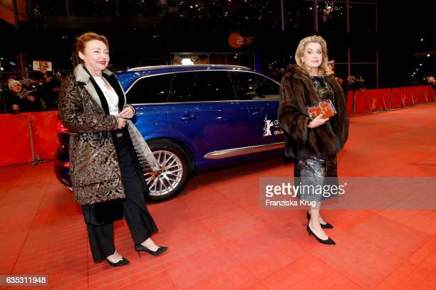 Catherine Frot and Catherine Deneuve arrive at the 'The Midwife' premiere during the 67th Berlinale International Film Festival Berlin at Berlinale...