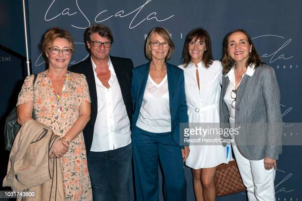 Catherine Frot Frederic Biessy French Minister of Culture Francoise Nyssen Melanie Biessy and Dominique Blanc attend La Scala reopens on September 11...