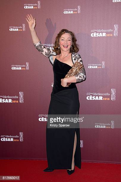 Catherine Frot poses with her award for Best Actress for the movie 'Marguerite' during The Cesar Film Awards 2016 at Theatre du Chatelet on February...