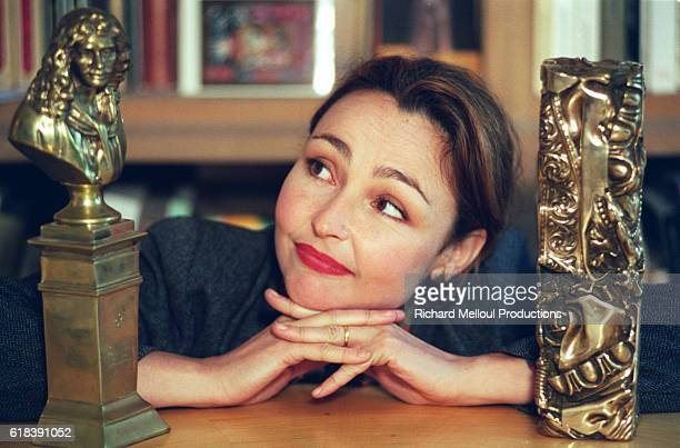 Catherine Frot with her Moliere award and her Cesar award