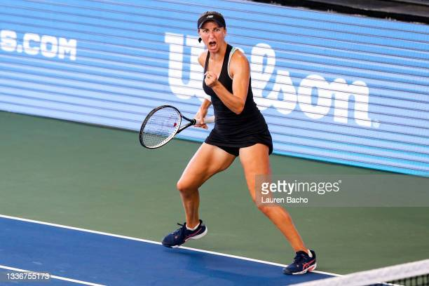 Catherine Harrison of the United States celebrates during the first set of her semifinals doubles match against Christina McHale of the United States...