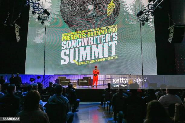 Catherine HarrisWhite speaks onstage at the GRAMMYPro Songwriter's Summit at Museum of Pop Culture on April 30 2017 in Seattle Washington