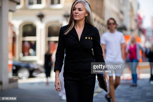 Catherine Hayward is seen during London Fashion Week Men's June 2018 on June 9 2018 in London England