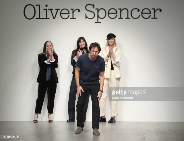Catherine Hayward, Jade Parfitt, Oliver Spencer and Daisy Lowe walk the runway at the Oliver Spencer show during London Fashion Week Men's January...