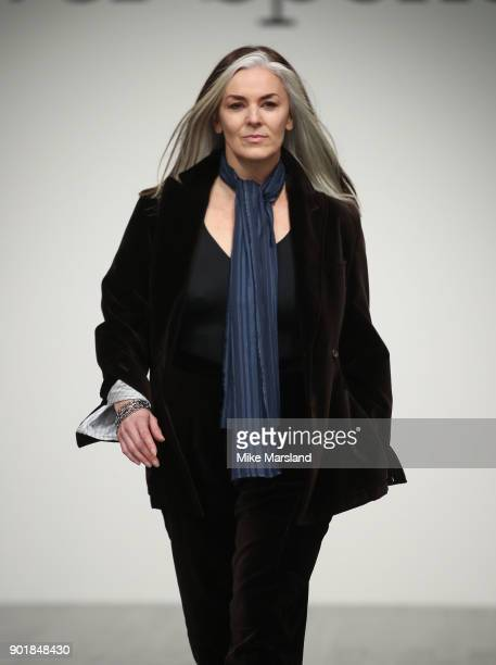Catherine Hayward walks the runway at the Oliver Spencer show during London Fashion Week Men's January 2018 at BFC Show Space on January 6 2018 in...