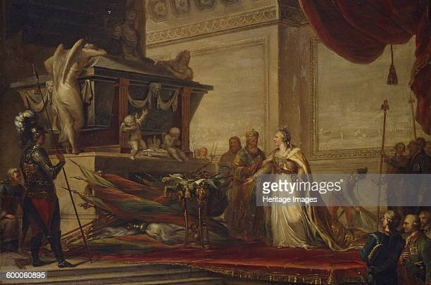 Catherine II laying the trophies of the Battle of Chesma on the tomb of Peter the Great 1791 Found in the collection of State Hermitage St Petersburg...