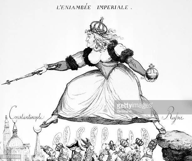 Stepping from Russia to Constantinople over the heads of her imperial rivals Political cartoon 1792 BPA2# 4271