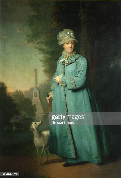 Catherine II strolling in the park at Tsarskoye Selo with the Chesme Column in the background 1794 Found in the collection of the State Tretyakov...