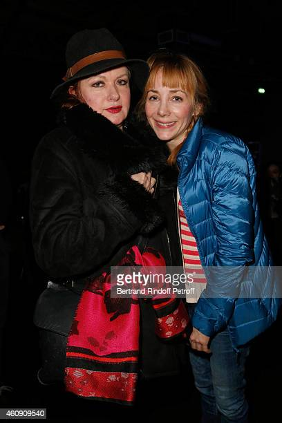 Catherine Jacob and Julie Depardieu attend in Backstage after the Laurent Gerra Show at Palais des Sports on December 27 2014 in Paris France