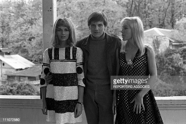 Catherine Jourdan Jacques Perrin and Estella Blain at filming of 'vivre la nuit' by M Camus In France On November 14 1967