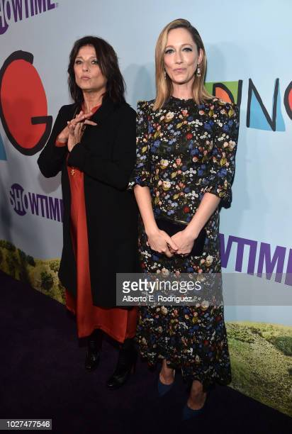 Catherine Keener and Judy Greer attend the premiere of Showtime's Kidding at The Cinerama Dome on September 5 2018 in Los Angeles California