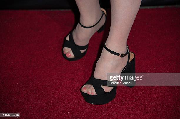 Catherine Kellner shoe detail arrives at the opening night premiere of the Beverly Hills Film Festival featuring 'The Lennon Report' and 'Baby Baby...