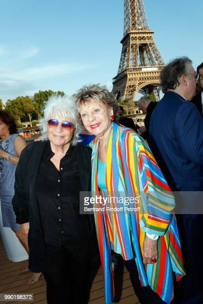 Catherine Lara and Annie Cordy attend Line Renaud's 90th Anniversary on July 2 2018 in Paris France