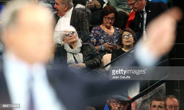 Catherine Lara Corinne Lepage attend the campaign rally of French presidential candidate Emmanuel Macron at AccorHotels Arena on April 17 2017 in...