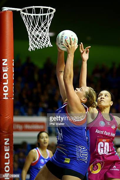 Catherine Latu of the Mystics gets to the ball ahead of Rachel Rasmussen of the Steel during the round 10 ANZ Championship match between the Mystics...