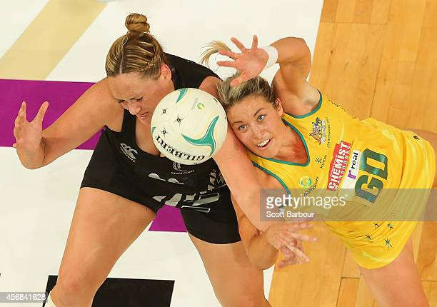 Catherine Latu of the Silver Ferns and Julie Corletto of the Diamonds compete for the ball during the International Test match between the New...