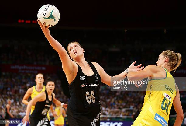 Catherine Laty of the Ferns is challenged by Laura Geitz of the Diamonds during the International Netball Test match between the New Zealand Silver...