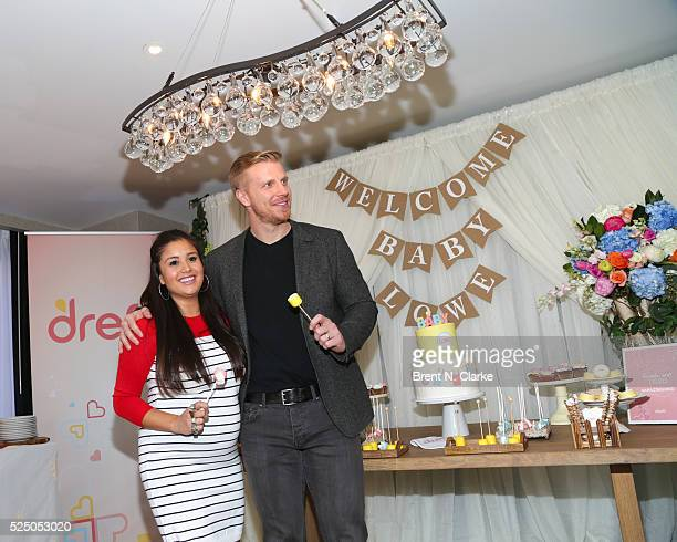 Catherine Lowe and Sean Lowe from The Bachelor attend their #Amazinghood baby shower held at Gansevoort Park Avenue on April 27 2016 in New York City
