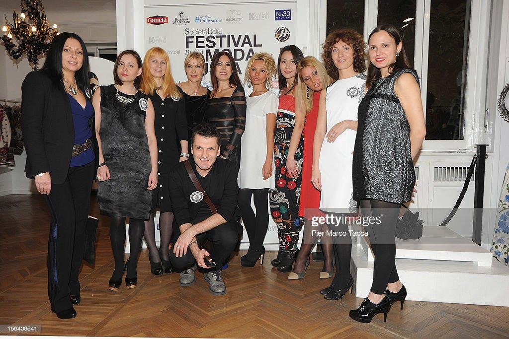 Catherine Malandrino (C) Russian fashion designers attend Russian Fashion Festival on November 14, 2012 in Milan, Italy.