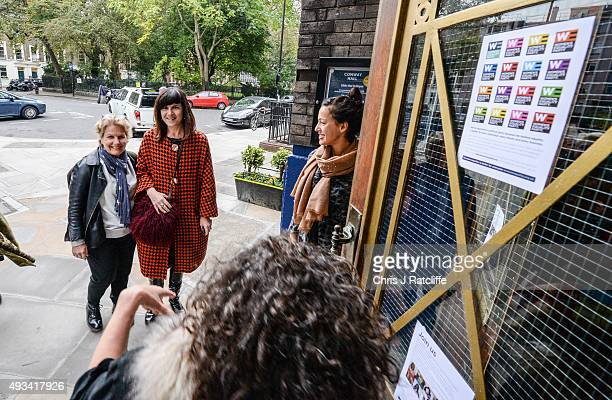 Catherine Mayer and Sandi Toksvig arrive at the Women's Equality Party policy launch on October 20 2015 in London England The new political party...