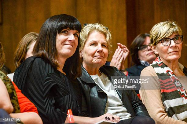 Catherine Mayer and Sandi Toksvig at the Women's Equality Party policy launch on October 20 2015 in London England The new political party announced...