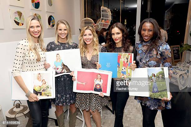Catherine McCord Heather Mycoskie Sara Blakley founder of Spanx and the Sara Blakely Foundation actress Leonor Varela and Nicole Schlegel show off...