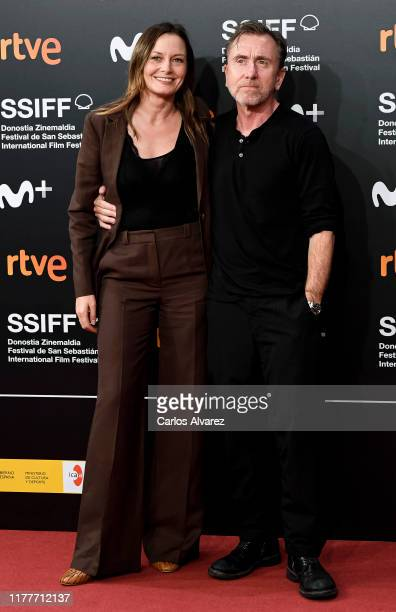 Catherine McCormack and Tim Roth attend the red carpet on the closure day of 67th San Sebastian International Film Festival on September 28 2019 in...