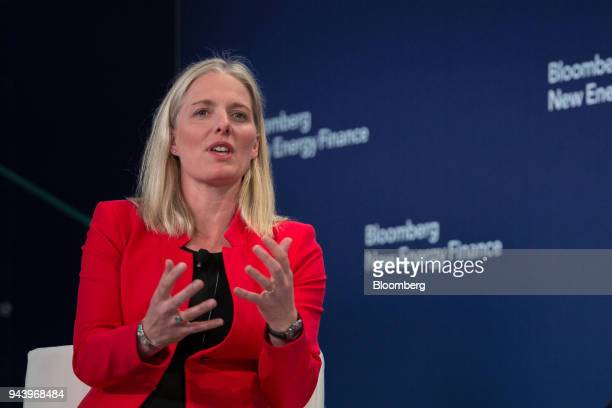 Catherine McKenna minister of environment and climate change for Canada speaks on a panel during the BNEF Future of Energy Summit in New York US on...