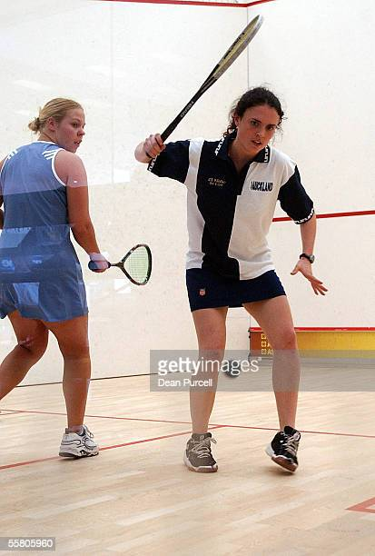 Catherine McLeod of Auckland plays the ball against Jennymae Englebretsen of Wellington during the District Teams Event at the National Squash...